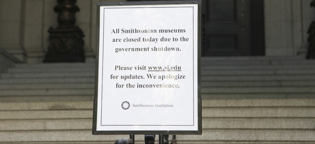 The National Museum of the American Indian is closed due to the government shutdown on October 4, 2013 in New York.