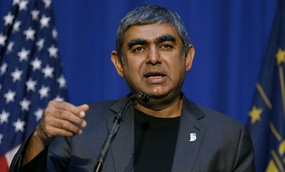 Dr. Vishal Sikka, chief executive officer of Infosys, announces an Infosys expansion in May.