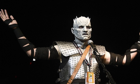 """Fan Christopher Lomas, dressed as the Night King, asks a question at the """"Game of Thrones"""" panel on day two of Comic-Con International on Friday, July 21, 2017."""