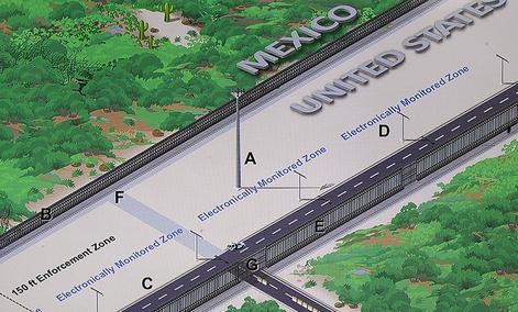 A concept illustration of a U.S.-Mexico border enforcement zone.