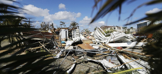 The remains of a house destroyed by Hurricane Irma are seen in Goodland, Fla., Tuesday, Sept. 12, 2017.