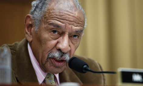 Rep. John Conyers, D-Mich. speaks on Capitol Hill in April.