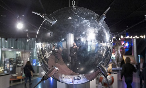 A mock-up of the First Earth Sputnik is on display at the Museum of Cosmonautics in Moscow, Russia.