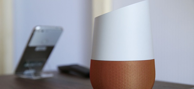 A Google Home, right, sits on display near a Pixel phone following a product event, in San Francisco.