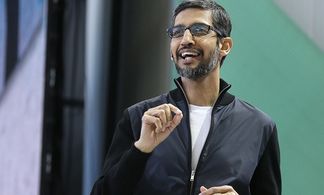 Google CEO Sundar Pichai delivers the keynote address of the Google I/O conference, Wednesday, May 17, 2017, in Mountain View, Calif.