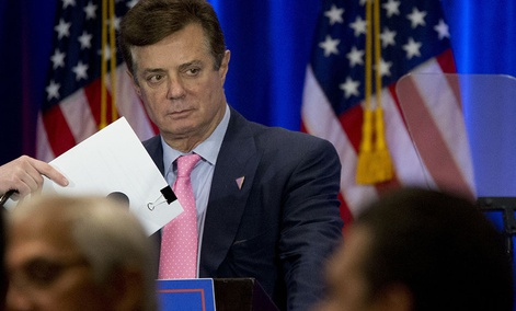 Paul Manafort appears on stage ahead of Republican presidential candidate Donald Trump, Wednesday, June 22, 2016, in New York.