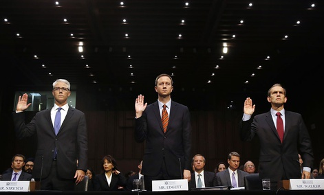 From left, Facebook's General Counsel Colin Stretch, Twitter's Acting General Counsel Sean Edgett, and Google's Senior Vice President and General Counsel Kent Walker, are sworn in for a Senate Intelligence Committee hearing on Russian election activity.