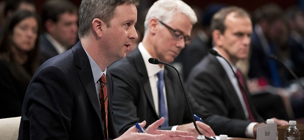 Twitter's Acting General Counsel Sean Edgett, from left, Facebook's General Counsel Colin Stretch and Google's Senior Vice President and General Counsel Kent Walker, testify before a House Intelligence Committee task force hearing on Capitol Hill.