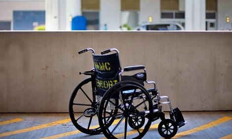 A wheelchair sits outside the Atlanta VA Medical Center in Atlanta.