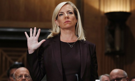 Kirstjen Nielsen is sworn in at a hearing on her nomination to be Department of Homeland Security Secretary.