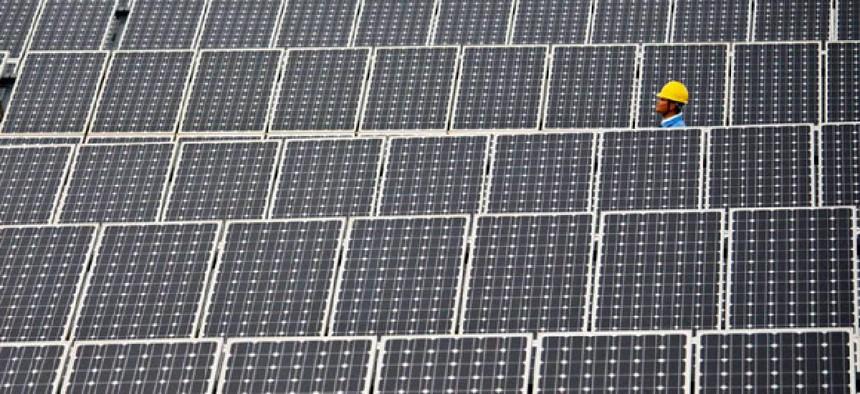 A 20 Mega Watt solar farm in Shilin near Kunming, in southwest China's Yunnan province.