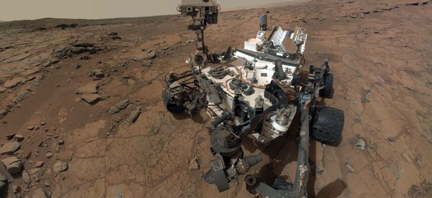 This self-portrait of NASA's Mars rover Curiosity combines dozens of exposures taken by the rover's Mars Hand Lens Imager.