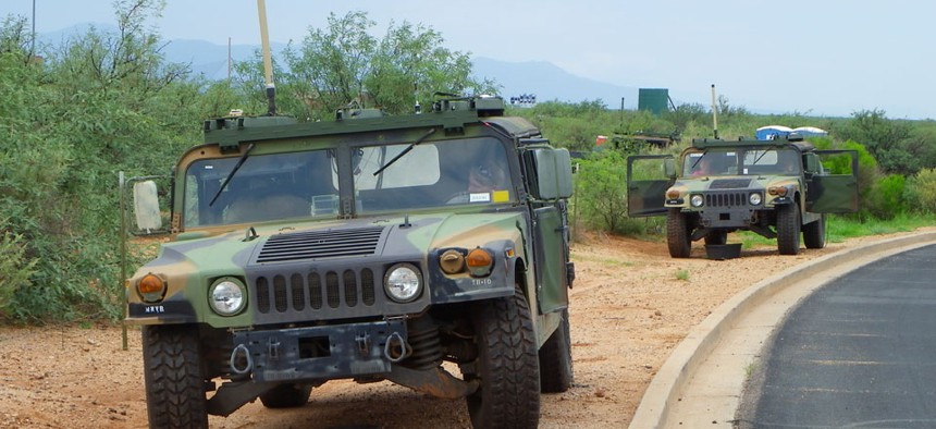 The Army used trucks to test the Mid-tier Networking Vehicular Radio network in July at Fort Huachuca, Ariz.