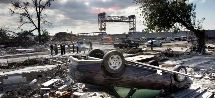 New Orlean's hurricane-ravaged Lower 9th Ward in 2005. Comparisons have been made between the launch of Healthcare.gov and the handling of Hurricane Katrina.