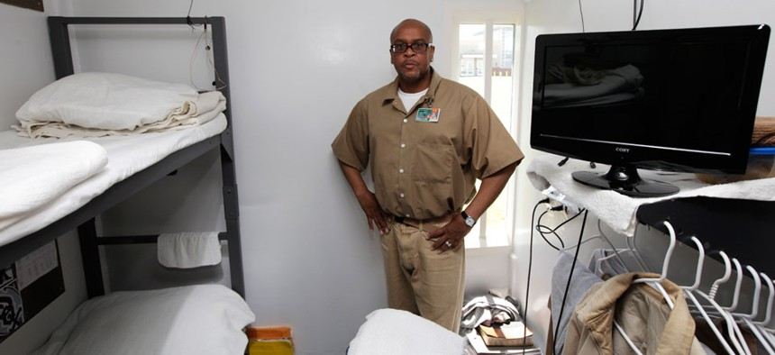 Army vet Donald Betts in 2012 in his cell in Aberdeen, Wash., where state officials are working to better coordinate benefits for imprisoned vets.