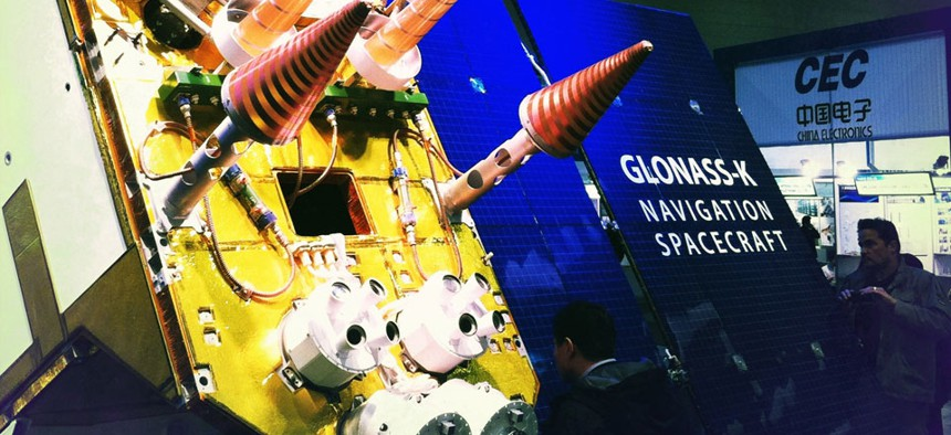 A full-sized model of the Russian Next-Generation Glosnass-K Satellite was displayed at CeBit 2011.