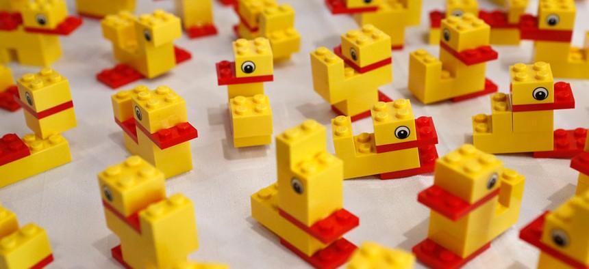 Ducks created with LEGO bricks