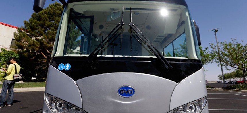 An electric bus outside of an electric bus manufacturing plant by the Chinese firm BYD, in the Southern California city of Lancaster