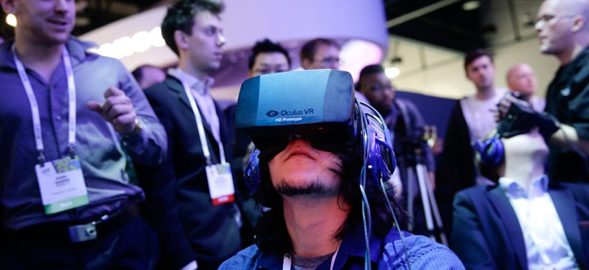 Oculus Rift virtual reality headsets at the Intel booth at the International Consumer Electronics Show.