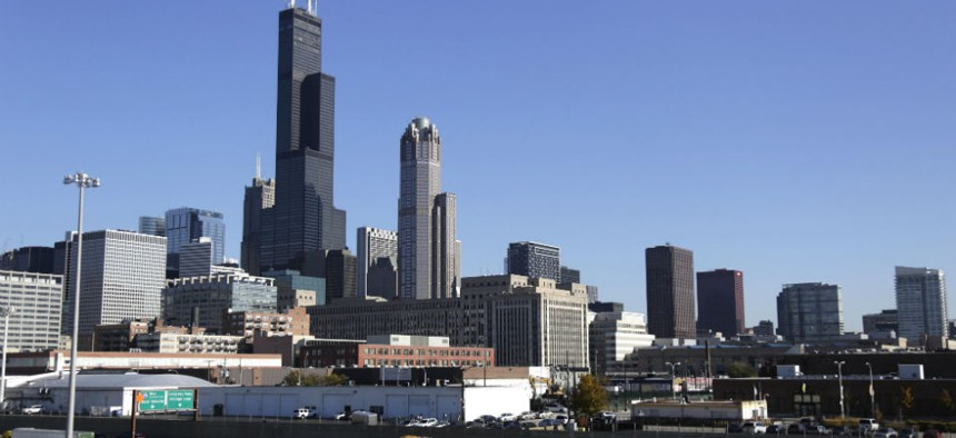 A portion of the Chicago skyline.