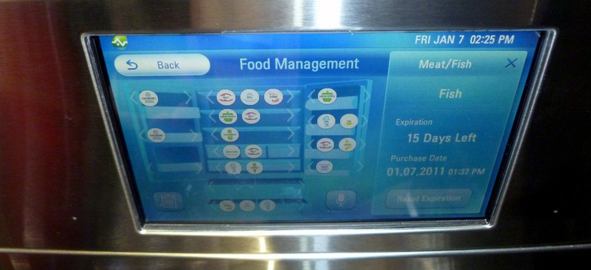 """The console of the LG's Smart Refrigerator has menus for """"food management."""""""