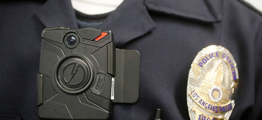 A Los Angeles Police officer wearing an on-body cameras during a demonstration for media in Los Angeles.