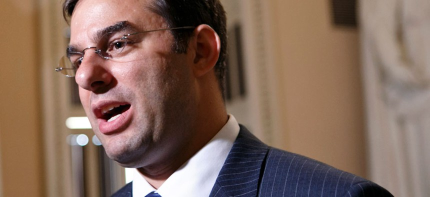 Rep. Justin Amash, R-Mich. speaks on Capitol Hill in Washington.