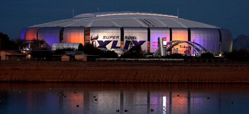The Super Bowl XLIX logo is displayed on the University of Phoenix Stadium, Tuesday, Jan. 27, 2015, in Glendale, Ariz.