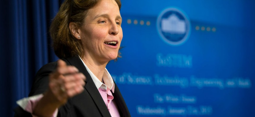 United States Chief Technology Officer Megan Smith speaks during the annual White House State of Science, Technology, Engineering, and Math address on Jan. 21, 2015.
