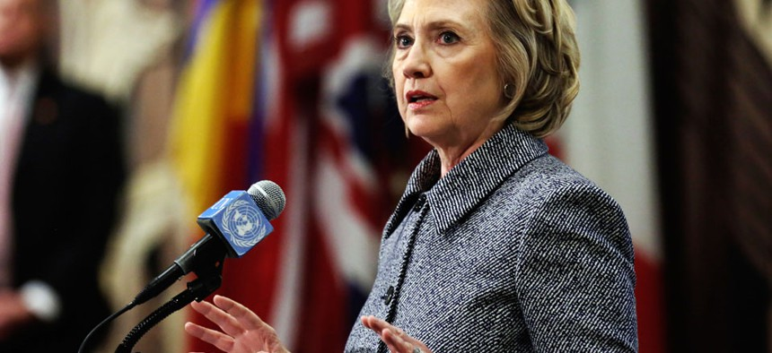 Hillary Clinton answers questions at a news conference at the United Nations, Tuesday, March 10, 2015.