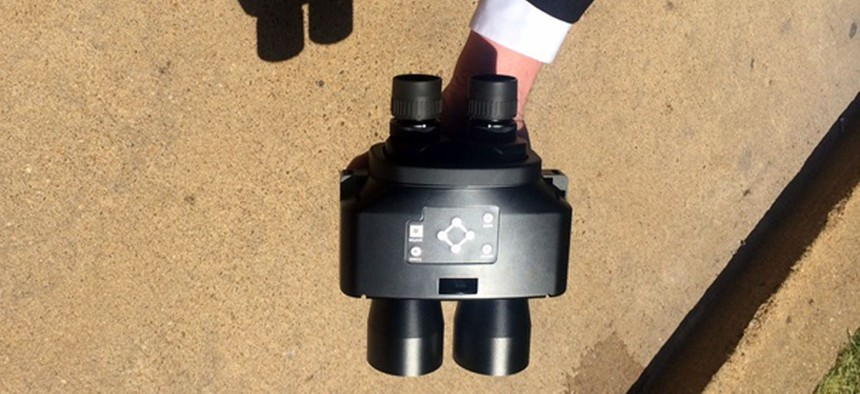 One of three prototypes of the Navy's face-recognition binoculars