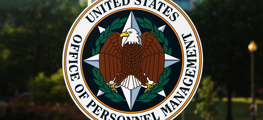 Emblem on the door of the Office of Personnel Management in Washington, DC.