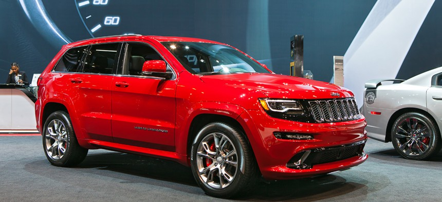 A Jeep SRT Grand Cherokee on display at the Chicago Auto Show media preview February 6, 2014.