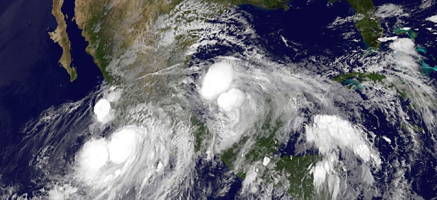 NOAA Satellite shows several tropical storms converging.