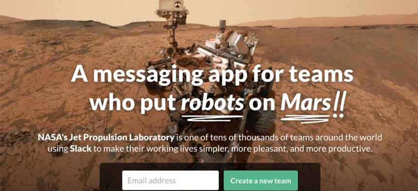 A screenshot of the Slack website.