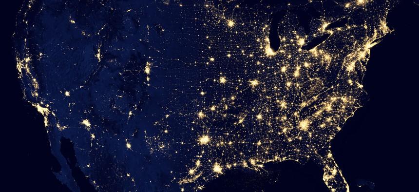 A satellite image of the United States taken with NASA satellites and NOAA's Joint Polar Satellite System.