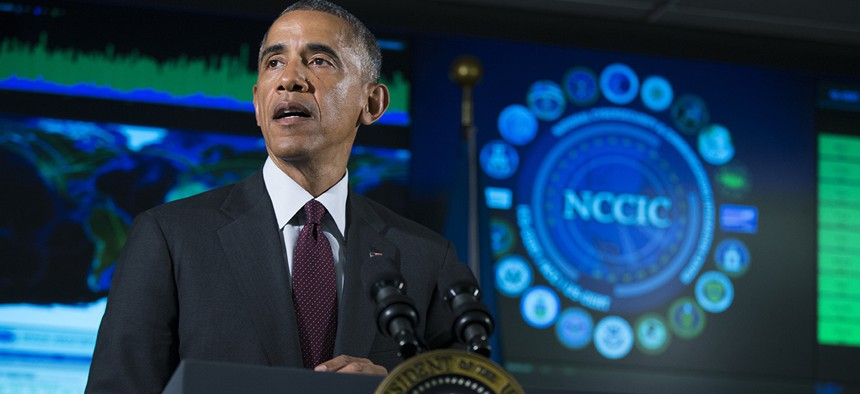 resident Barack Obama speaks at the National Cybersecurity and Communications Integration Center in Arlington, Va.