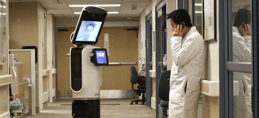 A telemedicine monitor in California.
