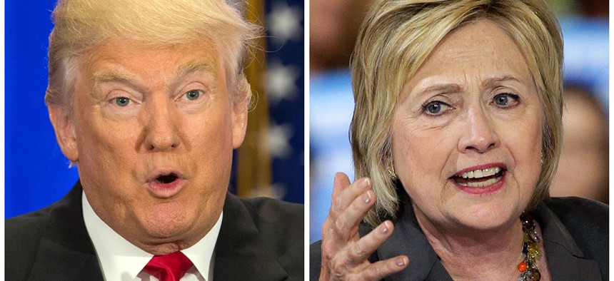 U.S. presidential candidates Donald Trump, left, and Hillary Clinton.