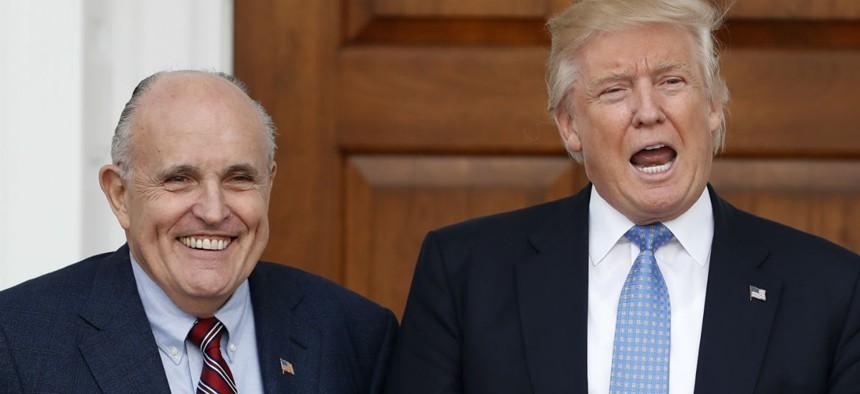 Trump with his pick for cyber advisor, Rudy Giuliani.