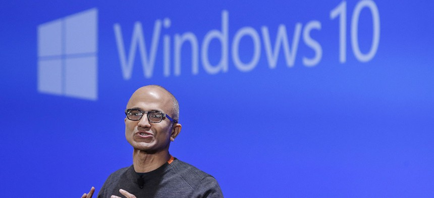 Microsoft CEO Satya Nadella speaks at an event demonstrating the new features of Windows 10 at the company's headquarters in Redmond, Wash.