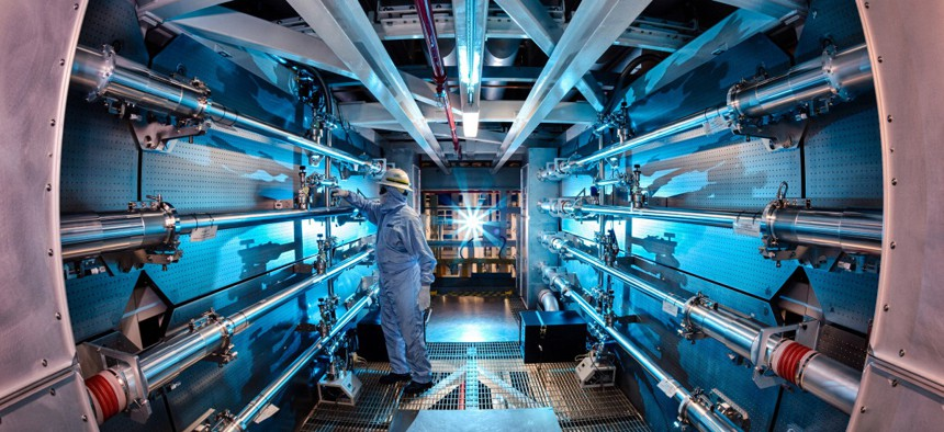 An experiment being conducted in the National Ignition Facility at the LLNL.