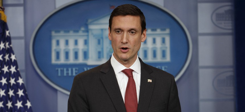 Homeland Security Adviser Tom Bossert speaks during the daily White House press briefing May 11.