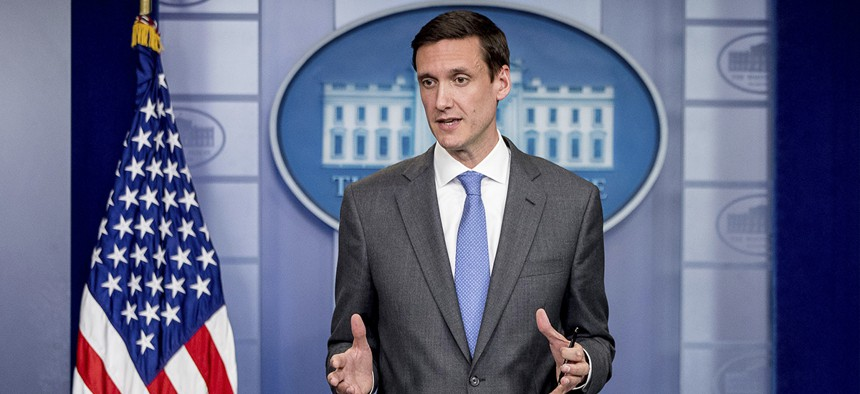 Homeland security adviser Tom Bossert speaks about the mass destruction offensive malware, May 15, 2017, during the daily press briefing at the White House.