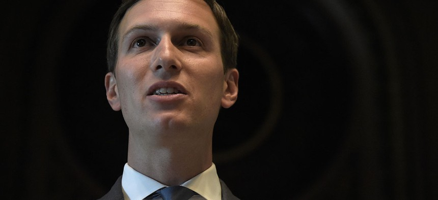 """White House senior adviser Jared Kushner speaks at the opening session of the White House meeting with technology Chief Executive Officers to mark """"technology week,"""" Monday, June 19, 2017."""