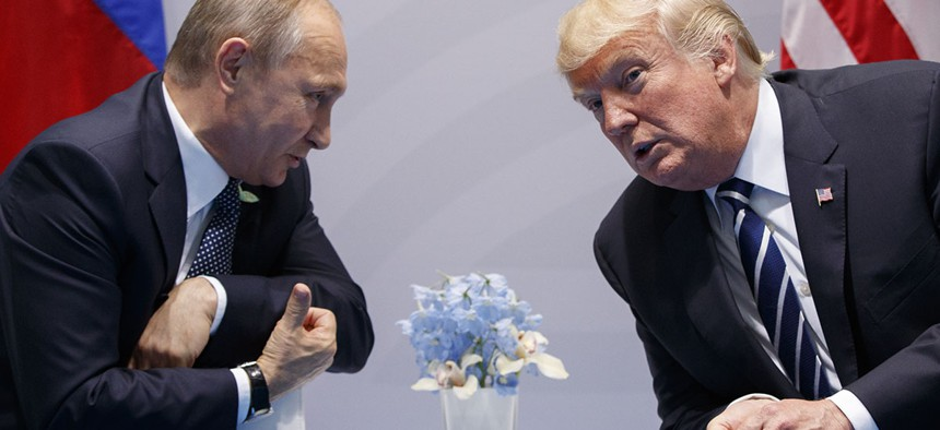 U.S. President Donald Trump meets with Russian President Vladimir Putin at the G-20 Summit in Hamburg.