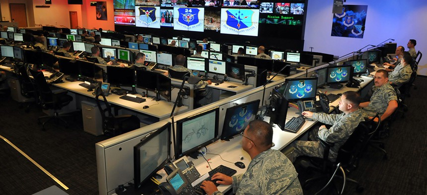 Cyber Airmen from the 24th Air Force at Joint Base San Antonio-Lackland, Texas.