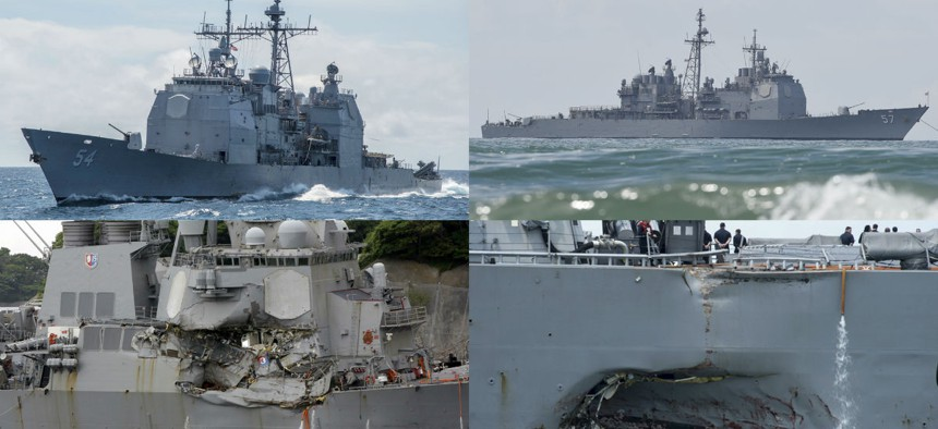 This combination of file photos show U.S. Navy ships the USS Antietam, top left; the USS Lake Champlain, top right; the USS Fitzgerald, bottom left; and the USS John S. McCain.
