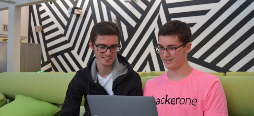 HackerOne Co-founder Jobert Abma (left) with Jack Cable (right) in July.