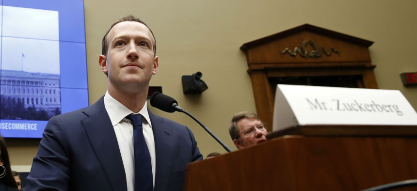 Facebook CEO Mark Zuckerberg testifies at a House Energy and Commerce hearing April 11 on Capitol Hill in Washington.